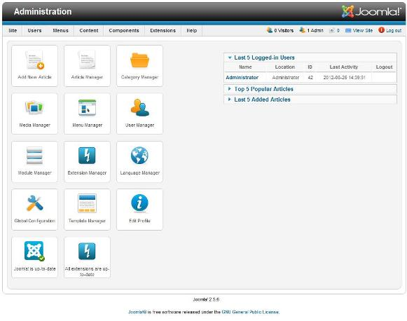 Joomla Administration Menu